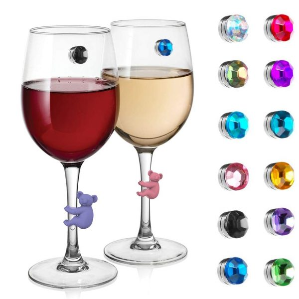 AMonst Wine Glass Drink Charms Markers, 12 Pcs Crystal Magnetic & 6Pcs Color Silicone Koala Decor Handmade for Goblet,Champagne Flutes Cocktails Martinis
