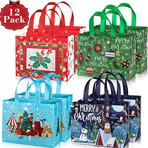 Whaline 12 Pack Large Christmas Tote Bags with Handles, Reusable Gift Bag Grocery Shopping Totes for Holiday Xmas