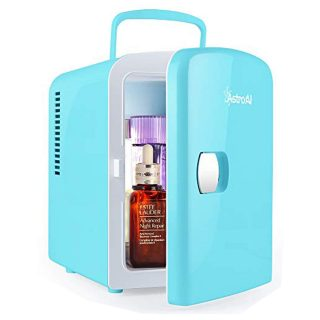 AstroAI Mini Fridge 4 Liter/6 Can AC/DC Portable Thermoelectric Cooler and Warmer for Skincare, Breast Milk, Foods, Medications, Bedroom and Travel, Teal