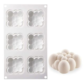 AiChef Silicone Mold For Baking Flaky Clouds Mold Chocolate Mousse Cake Dessert Molds Household High Temperature French Cake Mold Mousse Dessert Silicone Mold Pastry Cake Molds.6-Cavity Clouds.