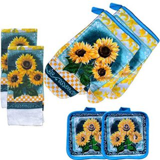 FSTIKO Rustic Sunflower Themed Kitchen Towel Set Includes 2 Pot Holders, 2 Oven Mitt Heat Resistant Oven Gloves, 2 Dish Towels Kitchen Linen Set Decoration (Set of 6 Piece)