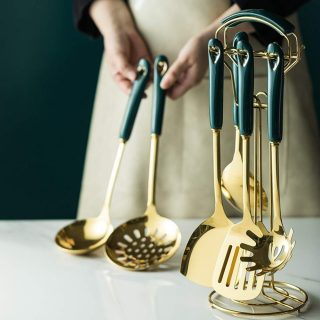 Kitchen Products Cookware Set 6/7PCS Green Gold Kitchen Tools Luxury Sets Heat-Resistant Cooking Utensil Set Kitchen Tool NDMCC (Color : Gold, Size : 7PC)