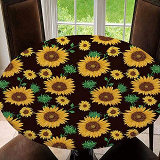 Elastic Edged Round Tablecloth Seamless Pattern with Sunflowers