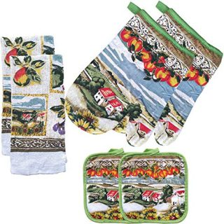 FSTIKO Farmhouse Sunflower Village Themed Kitchen Linen Set Includes Two Oven Mitt, Two Pot Holders and Two Dish Towels for Cooking, Baking, Housewarming Kitchen Decor (Set of 6 Piece)