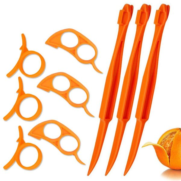 Orange Peeler Tools Citrus Peel Cutter Plastic Easy Fruit Vegetable Slicer Cutter Lemon Peeler Opener Remover Fruit Tools Kitchen Accessories Knife Cooking Tool Kitchen Gadgets,9 Pack