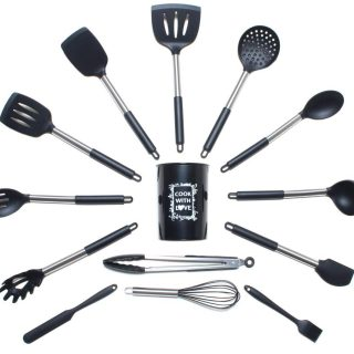 COOK WITH LOVE: 14 Pcs. Silicone Cooking Utensil Set - 446°F, Non-stick, Heat Resistant, Silicone Cookware with Stainless Steel Handle, Kitchen Utensils Set, BPA Free & Non-Toxic