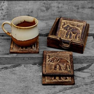 storeindya Drink Coaster Set of 4 Handcrafted for Tea Coffee Beer Glass Dining Elephant Design Tabletop Home Decor Kitchen Accessories