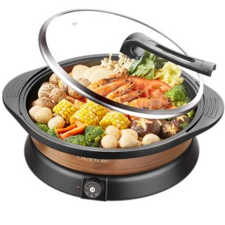 LIVEN Household Fast Heating Multi-function Electric Cooker, Electric frying pan, Electric hot pot, Electric baking pan, Non-stick coating surface, Glass cover, Multi-function electric hot pot.