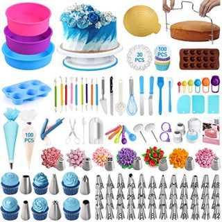 Cake Decorating Tools,OCOOKO 340 Pcs Cake Decorating Kit with Silicone Cake Pans,Cake Rotating Turntable,48 Piping Icing Tips,7 Russian Nozzles,Muffin Cup Mold,Cake Baking Tools for Cake Lovers