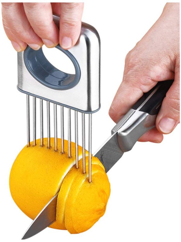 Lemon slicer fruit splitter onion cut stainless steel ultra-thin household cutting vegetables auxiliary tools kitchen accessorie (Silver 1)