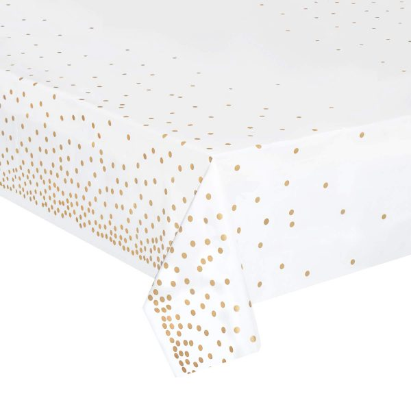 Waterproof Disposable Party Table Cloths with Gold Dot