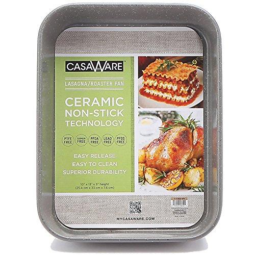 casaWare Ceramic Coated NonStick Lasagna/Roaster Pan 13 x 10 x 3-Inch (Silver Granite)