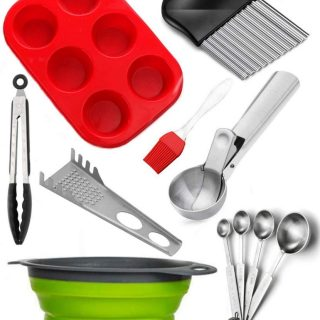 8 Pieces Cool Cooking Gadgets Accessories Set, Silicon Collapsible Strainer, Brush, Kitchen Tongs, Muffin Pan, Falafel Meatball Scoop, Crinkle Cutter, Measuring Spoons, Pasta Fork