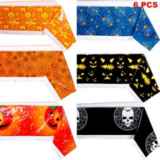 6 Pieces Halloween Table Cover Halloween Plastic Tablecloth Pumpkin Cobweb Spider Pattern Table Cover for Halloween Party Decoration Supplies (Spiderweb, Pumpkin, Ghost, Skull Design)