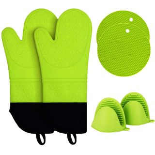 Oven Mitts and Pot Holders Sets,Haomacro Silicone Oven Mitts Heat Resistant 500°F Hot Pads Pinch Mitts with Mini Oven Mitts Food Safe Cooking Baking Gloves Kitchen with Soft Inner Lining Green 6 pack