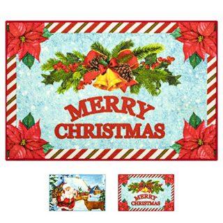 Softlife Merry Christmas Decorative Rug 24 x 36 inch Indoor Entrance Doormat Welcome Runner Rug for Bedroom Playroom Kitchen Fireplace Front Door Xmas Party Home Decor Floor Carpet
