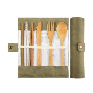 MIS1950s Portable Reusable Bamboo Cutlery Home Travel Eco-Friendly Fork Spoon Flatware Set of 7 (Green)