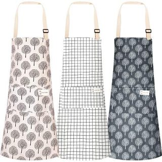 3pcs Cooking Apron with Pocket, Adjustable Cotton Linen Kitchen Apron Chef Apron for Women Men