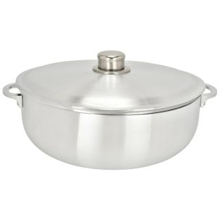 ALUMINUM CALDERO STOCK POT by Chef Pro, Aluminum, Superior Cooking Performance for Even Heat Distribution, Perfect For Serving Large and Small Groups, Riveted Handles, Commercial Grade (9.3 Quart)
