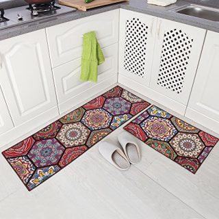 "Carvapet 2 Piece Non-Slip Kitchen Mat Runner Rug Set Doormat Vintage Design Boho Style,Hexagon (15""x47""+15""x23"")"