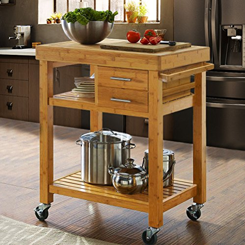 Rolling Bamboo Wood Kitchen Island Cart Trolley, Cabinet