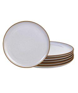 Mora Ceramic Plates, 10 inch - Set of 6 - Dinner Plate. Microwave, Oven, and Dishwasher Safe, Scratch Resistant, Modern Dinnerware- Kitchen Serving Porcelain Dish - Lavender Sugar