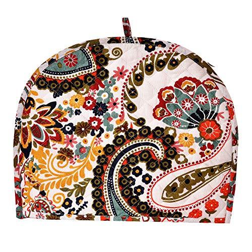 Home Delicate Kantha Cream Tea Cosy Kitchen Accessories Multicolour Kettle Cover