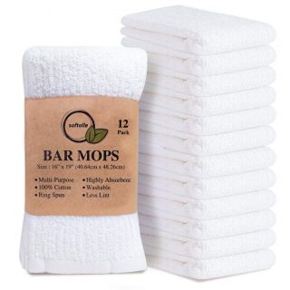 Softolle Kitchen Towels, Pack of 12 Bar Mop Towels -16x19 Inches -100% Cotton White Towels - Super Absorbent Bar Towels, Multi-Purpose for Home, Kitchen and Bar Cleaning