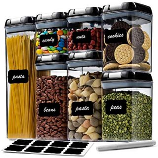 7 Pc Airtight Food Storage Container Set - Kitchen & Pantry Organization Containers - Labels & Chalk Marker - BPA Free Clear Plastic Kitchen and Pantry Organization Containers