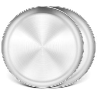 13½ Inch Pizza Pan Set of 2, P&P CHEF Stainless Steel Pizza Tray, Round Pizza Plate For Pie Cookie Pizza Cake, Non Toxic & Heavy Duty, Brushed Finish & Easy Clean