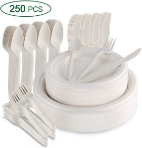 SMARTWASHBASICS 350-Piece Compostable Paper Plates and Utensils Set - Eco Friendly Biodegradable Plates, Spoons, Knives, Bowls and Cups Serveware Kit - Heavy Duty Disposable Sugarcane Dinnerware Set