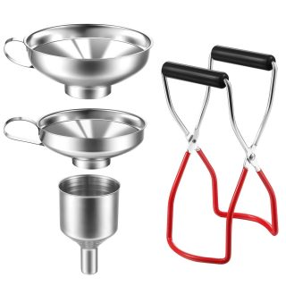 4 Pieces Canning Funnel and Jar Lifter Set, Stainless Steel Small Funnel Kitchen Jar Funnel, Canning Jar Lifter with Secure Grip for Wide and Regular Jars for Transferring Liquid and Dry Ingredients
