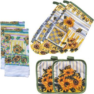 FSTIKO Sunflower Kitchen Linen Set Includes 2 Oven Mitt, 2 Pot Holders, 2 Kitchen Towels Dishcloths Kitchen Decor for Cooking, Baking, Barbecue(Set of 6 Piece)