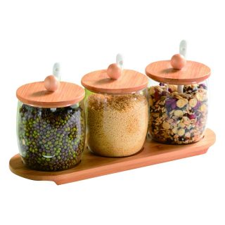 Vencer 3 Pcs Set Bulb Shaped Glass Sugar Salt Container Canisters Sets for Kitchen Serveware,Cute Spice Jars with Bamboo Lids and Spoons,Home and Kithcen Great Gift