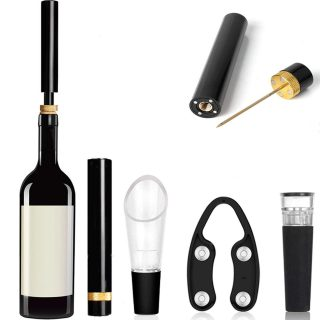 Wine Openers set Air Pressure Pump, Needle Wine opener Bottle Cork Remover Accessories Tool Kit with Wine Pourer, Foil Cutter and Vacuum Stopper Gift for men Wine Lover