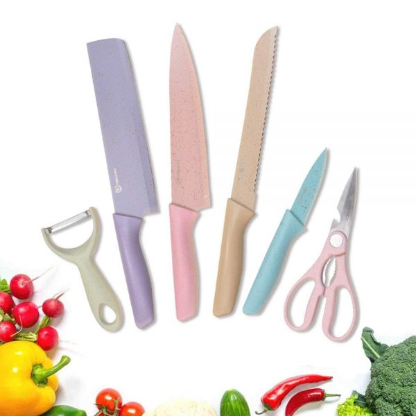 Fukep Colorful Kitchen Cutting Knife Set of 6 piece with Giftbox, Non-Stick Sharp Chef Kitchen Cutting Knife set Including Knives, Peeler, Scissor for cutting, slicing, mincing and dicing meat
