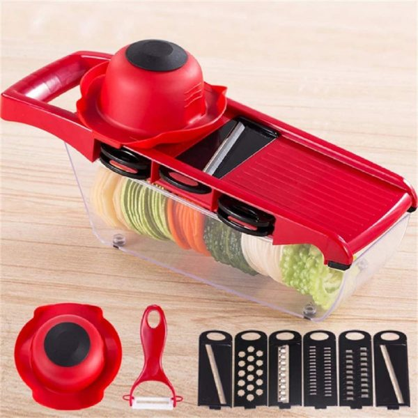 Kitchen Accessories Slicer Vegetable Cutter With Stainless Steel Blade Manual Potato Peeler Carrot Cheese Grater Dicer Kitchen Tool Convenient Use Red