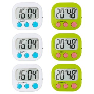 6 Pack Digital Kitchen Timer for Cooking Classroom Timers for Teachers Minute Second Count Up Countdown