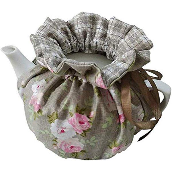 Cotton Tea Cozy Vintage Floral Tea Cozy Dust Proof Insulated Teapot Cover Keep Warm Decorative Accessories Tea Kettle Quilt for Home Kitchen Table Hotel Tea Party Restaurant (Color3)