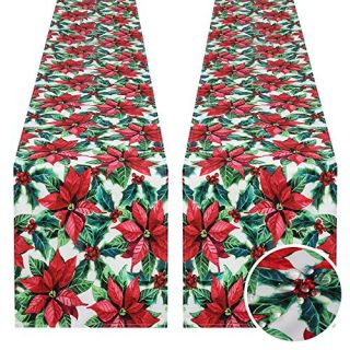 SoarDream Christmas Poinsettia Table Runner 2 Packes 13x84 Inches Printed Holly Leaves Table Cover Holiday New Year Party Table Decorations