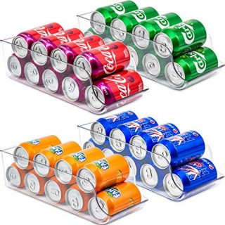 Soda Can Organizer for Refrigerator - 4 Pack Clear Plastic Beverage Holder & Food Dispenser BPA Free Fridge Organizer Bins for Freezer, Kitchen, Countertops, Cabinet, Pantry Organization and Storage