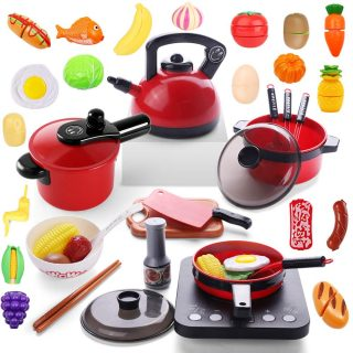53PCS Kitchen Play Toy with Cookware Playset, Electronic Induction Cooktop, Pressure Cooker, Kettle, and Barbecue Grill, Cooking Utensils, Toy Cutlery, Cut Play Food, Learning Gift for Girls Boys Kids