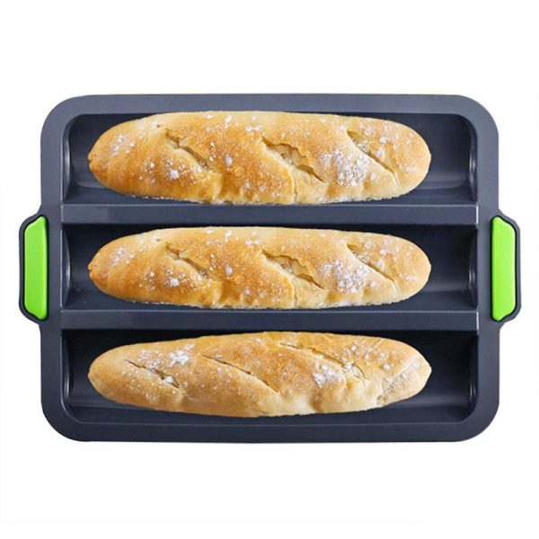 """Silicone Baguette Pan Non-stick French Bread Baking Mould, 3 Wave Baguette Tray Loaf Pan 11""""x2.3"""" Bake Mold, Non-Stick Baking Liners Mat Oven Toaster Pan Silicone Sandwich French Baking Tray(Grey)"""