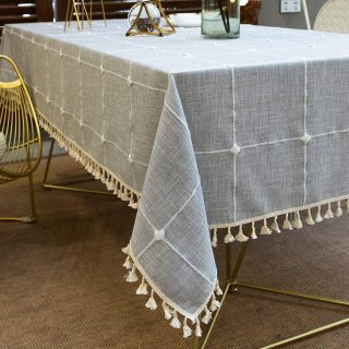 Vedouci Square Stitching Tassel Tablecloth Heavy Weight Cotton Linen Fabric Dust-Proof Table Cover for Kitchen Dining Table Top Decoration(Square,55''x55'',4 Seats, Gray)