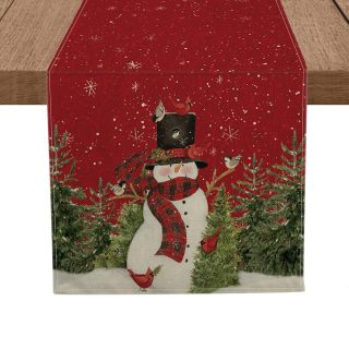 Artoid Mode Snowman Christmas Birds Trees Table Runner, Seasonal Winter Xmas Holiday Tablecloth Kitchen Dining Table Linen for Indoor Outdoor Home Party Decor 13 x 72 Inch