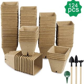 124 Pack Seed Starter Peat Pots for Sprouting Seeds, 100% Eco-Friendly Organic Germination Seedling Trays Biodegradable Kits for Vegetable, Flower and Garden Planting, 4 pcs Garden Tool Included