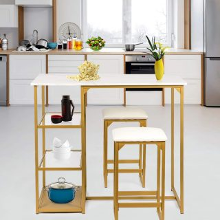 BAHOM 3 Piece Bar Table Set, Bistro Restaurant Dining Table Set with 2 Bar Stools for Home, Kitchen, Bar - Golden