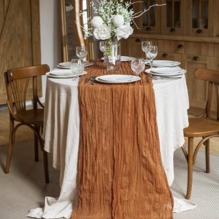 Table Runner 30x135 inches Cheesecloth Tablecloth Set for Romantic Wedding Rustic Boho Style Natural Cotton Elegant Decor (Walnut)