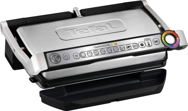 T-fal GC722D53 1800W OptiGrill XL Stainless Steel Large Indoor Electric Grill with Removable and Dishwasher Safe Plates, Silver