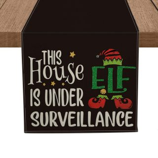 Artoid Mode This House is Under ELF Surveillance Table Runner Black, Seasonal Winter Christmas Holiday Tablecloth Kitchen Dining Table Linen for Indoor Outdoor Home Party Decor 13 x 72 Inch
